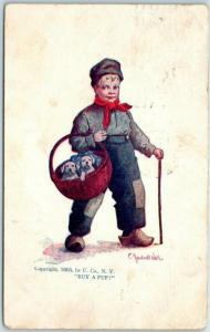Vintage Artist-Signed Bernhardt WALL Postcard Dutch Boy / Basket of Puppies 1908