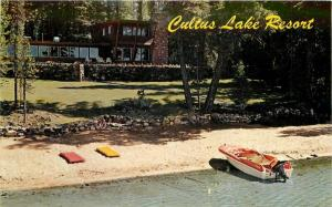 Bend Oregon Cultus Lake Lodge 1950s Postcard Speed Boat Veteran 2873