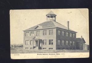 GUYMON OKLAHOMA PUBLIC SCHOOL BUILDING ANTIQUE VINTAGE POSTCARD 1909