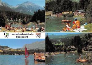 Switzerland Lenzerheide-Valbella am Heidsee, Lake Surfer Boats Beach Lac