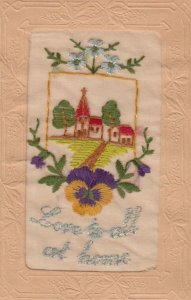 Embroidered 1914-18 ; Pansy Flower , Love to all at Home