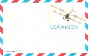 US UXC17 Mint  Air Mail Postcard BiPlane