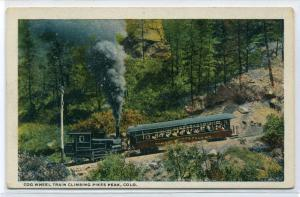 Cog Wheel Incline Train Railroad Pikes Peak Colorado 1930s postcard