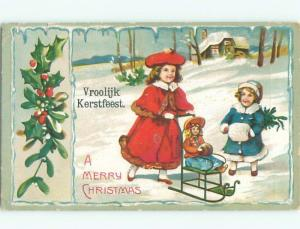 foreign Old Postcard EUROPEAN GIRLS PLAY WITH DOLL AT CHRISTMAS AC2262