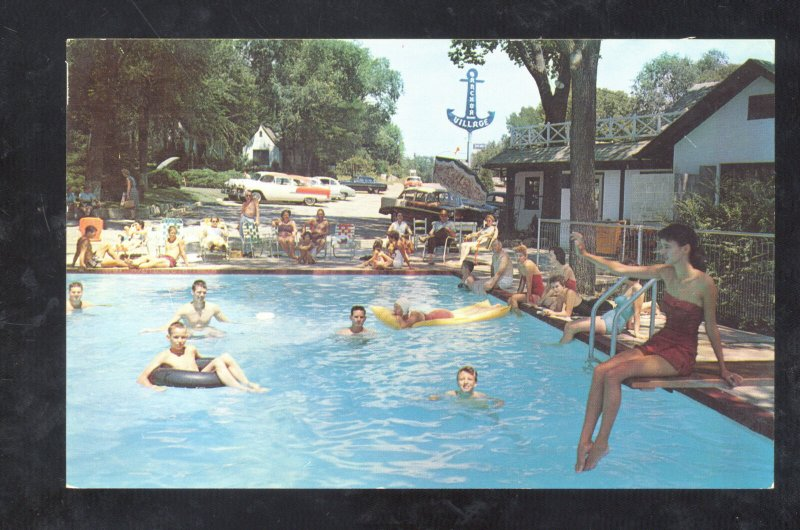BRANSON MISSOURI ANCHOR VILLAGE MOTEL SWIMMING POOL OLD CARS MO. POSTCARD