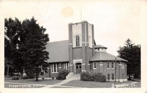 Brooklyn Iowa~Presbyterian Church with Stained Glass Windows~1944 Real Photo PC