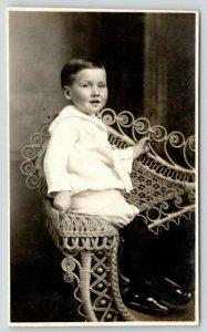 RPPC~Happy Little Feller Lester De Witt Sitting On Fancy, Big Wicker Chair~1922