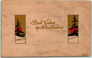 Vintage CHRISTMAS Postcard Best Wishes Trees / Sunset - BERGMAN c1913