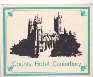 England Canterbury County Hotel Vintage Luggage Label lbl0297