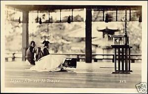 japan, Priest at Prayer (1930s) RPPC