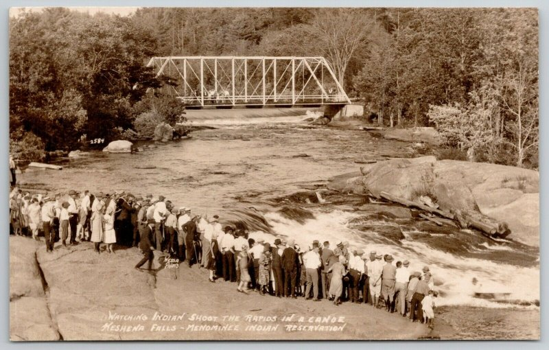 Keshena Falls~Folk on Bridge & Shore Watch Menominee Indians Shoot Rapids RPPC