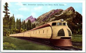 Union Pacific Railroad Postcard Streamliner Train / Mountain View HHT c1920s