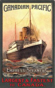 Canadian Pacific Poster Type Empress Steamers Largest & Fastest Canada Postcard