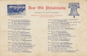 Poem Dear Old PHILADELPHIA , Pennsylvania , 1900-10s