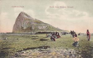 Gibraltar Rock from Neutral Ground, People Gathered on Beach, Gibraltar, 00-1...