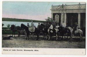 021820 VINTAGE MINNEAPOLIS MN POSTCARD PONIES AT LAKE HARRIET 1908