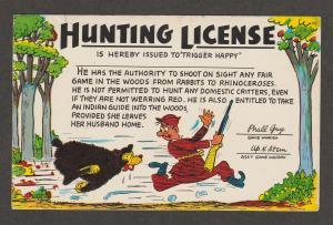 Hunting License Comic Vtg Post Card Bear and Hunter Trigger Happy