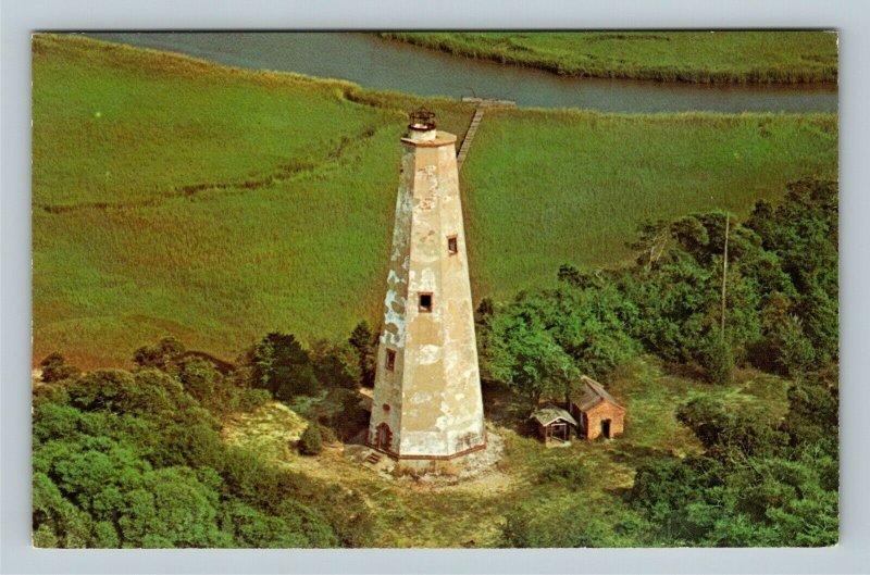 Smith Island NC, Cape Fear Lighthouse, Chrome North Carolina Postcard