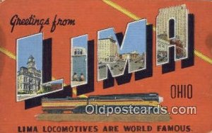 Lima, Ohio USA Large Letter Town Vintage Postcard Old Post Card Antique Posta...