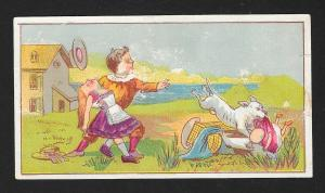 VICTORIAN TRADE CARD Boy Girl Dog Grabbing Baby