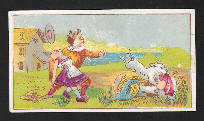 VICTORIAN TRADE CARD Boy Girl Dog Grabbing Baby