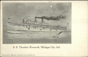 Michigan City IN Steamship SS Theodore Roosevelt c1905 Postcard