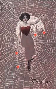 C Ryan Fantasy~Lovely Lady in Spider Web~Heart Trophies~Moon~Black Grey Red
