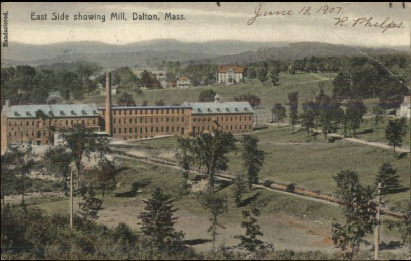 Dalton MA East Side Showing Mill c1910 Postcard