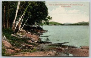 Adirondacks New York~Lake Pleasant from Kiamesha Lodge~Scenic Shoreline~c1910