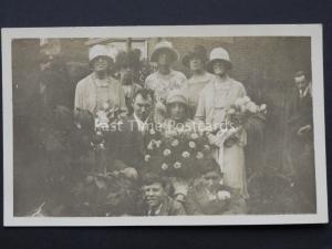 c1920's Wedding Portrait BRIDE & GROOM Brides Maids & Best Man (2) RP Postcard
