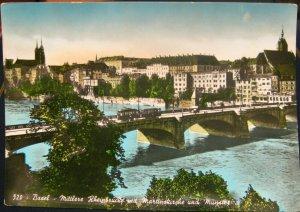 Switzerland Basel Mittlere Rheinbrucke mit Martinskirche und Munster - unposted