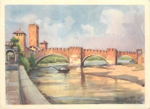 Postcard Italy Verona ponte Castel vecchio