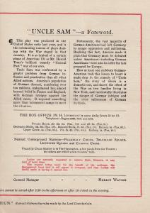 Uncle Sam War WW1 Comedy USA New York Life Military Antique Theatre Programme