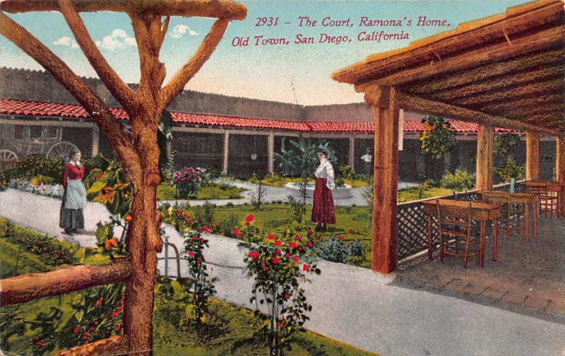 The Court, Ramona's Home, Old Town, San Diego, CA,  early postcard, Used in 1912