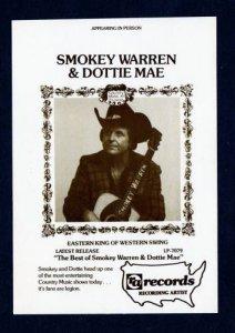 Smokey Warren Dottie Mae Country Swing Music Singer AD Postcard RA Records