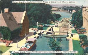 Ottawa Ontario~Rideau Canal Locks~Interprovincial Bridge~Boats~1940s