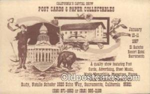 Ad for Postcard Show, Saramento CA, USA 1987 Bear Postcard,  Bear Post Card O...
