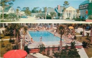 Myrtle Beach South Carolina~Ocean Pines Court~Lots of Pool Fun 1950s Postcard