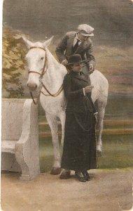 Couple romance. Wit white horse Nice vintage Dutch postcard