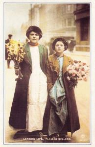 Nostalgia Postcard Flower Sellers, London, c1905 Repro Card #N1139