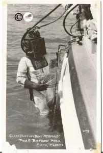 Real Photograph Postcard of 1950's Diver w/ Boat at Bayfront Park Miami Florida