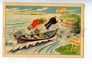 258565 COMIC Lovers tourist in Boat by KLARQVIST Vintage PC