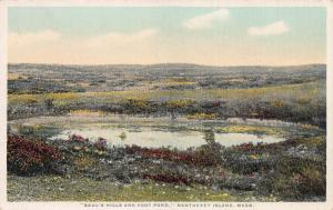 Saul's Hills and Foot Pond, Nantucket Island, MA., Early Postcard, Unused