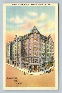 Parkersburg Chancellor Hotel Advertising Razed 1977 Linen West Virginia Postcard