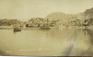 pakistan, KALABAGH, Panorama and Ferry Boat (1910s) RPPC Postcard