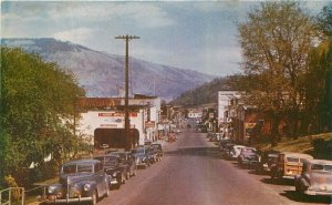 Hood River Oregon 1940s Automobiles Street Scene Roberts Postcard 21-10725
