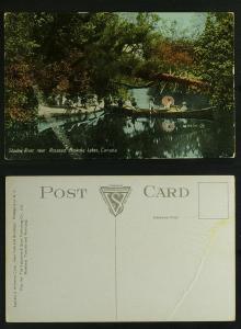Shadow river near Lake Rosseau Canoeists c1910 -face fault