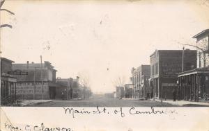 Cambridge Iowa~Main Street~Harness Shop~Clearson Dry Goods~Groceries~1907 RPPC