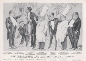 Savoy Hotel London Restaurant Old Cook Chef Art Caricature Advertising Postcard