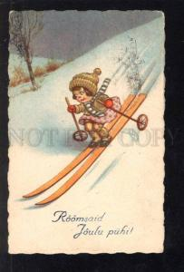032938 SKIING Little girl skiers Vintage color PC